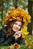 Woman at autumn outdoors Royalty Free Stock Photo