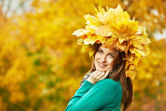 Woman at autumn outdoors Royalty Free Stock Photography