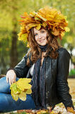 Woman at autumn outdoors Stock Photography
