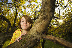 Woman at autumn park Stock Photo