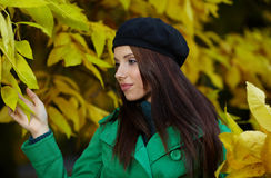 Woman in autumn park. Royalty Free Stock Photos
