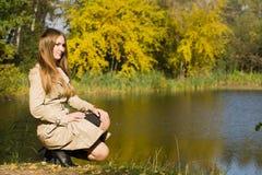 Woman at autumn park Royalty Free Stock Photos
