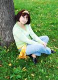Woman in the autumn park. Royalty Free Stock Photos