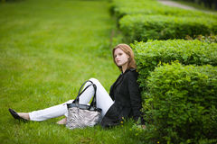 Woman at autumn park Royalty Free Stock Images