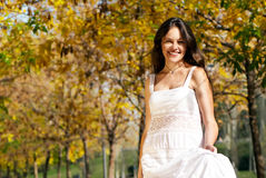 Woman in the autumn park Stock Photo