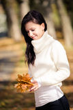 Woman in the autumn park Stock Photography