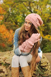 Woman in the autumn park. Royalty Free Stock Image