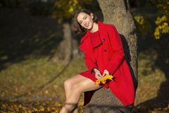 Woman at autumn park hold some leaves Stock Photo