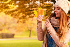 Woman in autumn park holding vitamins medicines. Showing how to deal with seasonal autumnal fever and supporting immunity during cold days Royalty Free Stock Photo