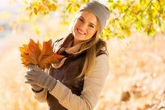 Woman autumn park Stock Photo