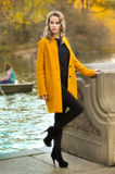 Woman at the autumn park with lake on the backgroun Royalty Free Stock Images