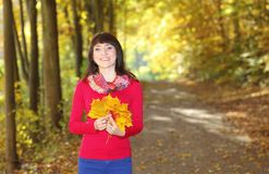 Woman in autumn park with leaves in hand Royalty Free Stock Image