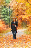 Woman in autumn park. With leaves in hands royalty free stock photo