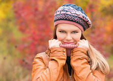 Woman in autumn park Royalty Free Stock Photography