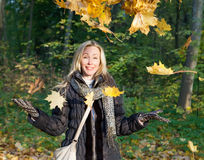 Woman in autumn park throws up red maple leaves. The beautiful woman in autumn park throws up red maple leaves stock image