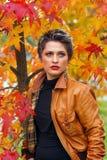 Woman in autumn scenery. Beautiful woman in autumn scenery Stock Image