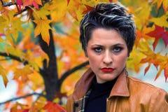 Woman in autumn scenery. Beautiful woman in autumn scenery Stock Photos