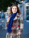 Woman at autumn street Royalty Free Stock Images