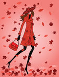 Woman in autumn under the rain Royalty Free Stock Photography