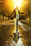 Woman at autumn walking Stock Photo