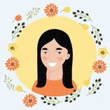 Woman avatar - club style. Vector illustration of cartoon young woman face icon. Pretty Spanish girl. Female avatar portrait decorated with flowers. Natural Royalty Free Stock Photography