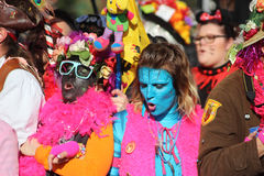 Woman in Avatar Makeup and Costume. Carnival of Nice 2016 Stock Photography