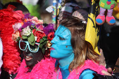 Woman in Avatar Makeup and Costume. Carnival of Nice 2016 Stock Photo