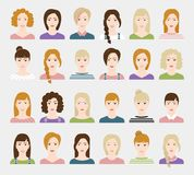 Woman avatar set. Set of woman faces. Design elements. Vector illustration Royalty Free Stock Photo