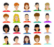 Woman avatar set vector illustration. Beautiful young girls portrait with different hair style isolated on white background Stock Photo