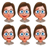 Woman avatar vector character. Set of teenager nerd girl heads. With facial expressions wearing eyeglasses isolated in white background. Vector illustration stock illustration
