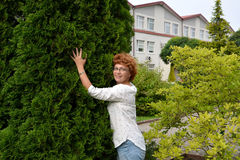 The woman of average years costs, having leaned against a thuja.  Royalty Free Stock Images