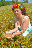 The woman of average years with a wreath on the head holds a bowl with buckwheat in the field of the blossoming buckwheat Stock Image