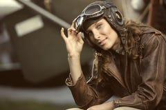 Woman aviator Stock Photography