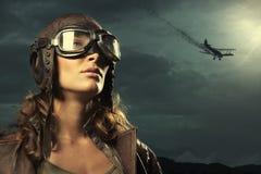 Woman aviator: fashion model portrait Stock Photography