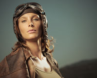 Woman aviator: fashion model portrait Royalty Free Stock Photo