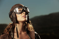 Woman aviator: fashion model portrait Stock Image