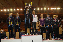 Woman Awards. For the women's double at the French championships in Nimes the 1 May 2010 Stock Images