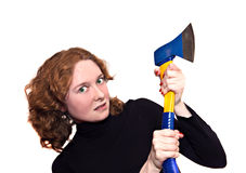 Woman with an axe. Mad red-haired woman with an axe Royalty Free Stock Photos