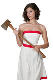 Woman with Axe Royalty Free Stock Photography