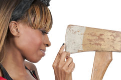 Woman with Axe Royalty Free Stock Photo