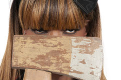 Woman with Axe Stock Photography