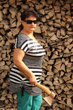 The woman with an axe Royalty Free Stock Photography