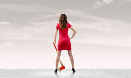 Woman with axe Royalty Free Stock Images