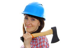 Woman with axe wearing protective blue helmet Stock Images