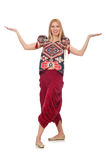 The woman in azerbaijani ornament clothing Royalty Free Stock Image