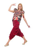 Woman in Azerbaijani ornament clothing isolated on Stock Images