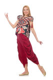 Woman in Azerbaijani ornament clothing isolated on Stock Photo