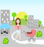 Woman with baby carriage Royalty Free Stock Photo
