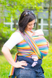 Woman baby carry scarf Royalty Free Stock Photography