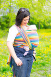 Woman baby carry scarf Stock Photo